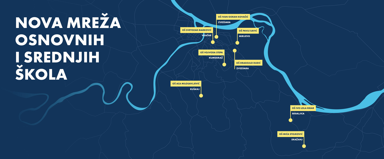 Prikaz mape novih osnovnih i srednjih škola u Beogradu