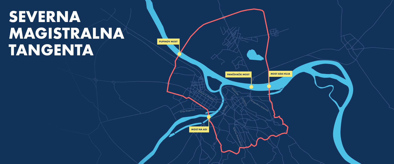 Mapa severne magistralne tangente oko Beograda