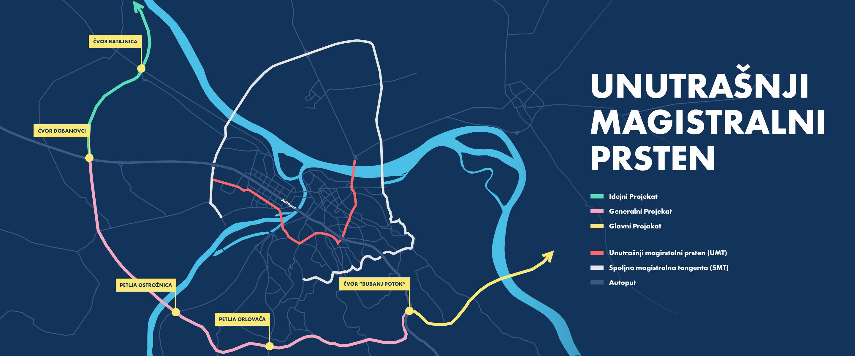 Mapa unutrašnjeg magistralnog prstena oko Beograda