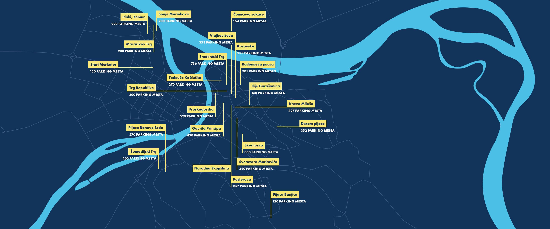 Mapa parking mesta i garaža u Beograd